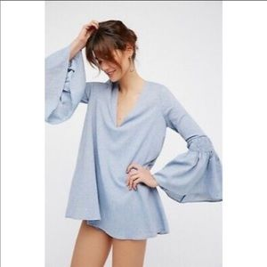 Free people chambray bell sleeve romper dress